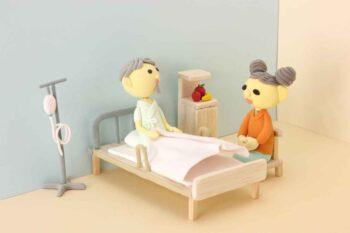 病院のお見舞いで会話する