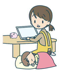スキマ時間に仕事するママ